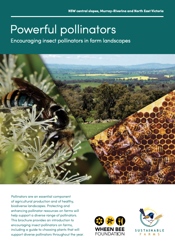 Powerful Pollinators- Encouraging insect pollinators in farm landscapes. NSW central slopes, Murray-Riverina and North East Victoria. Excellent guide for rural communities produced by Wheen Bee Foundation and Sustainable Farms.